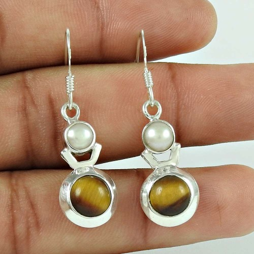 Pleasing 925 Sterling Silver Tiger Eye Pearl Gemstone Earring Jewellery