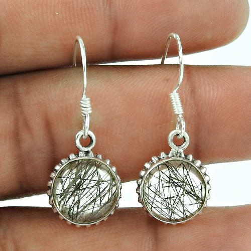 925 Sterling Silver Jewelry Ethnic Black Rutile Gemstone Earrings