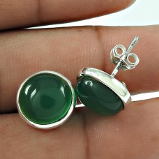 Personable 925 Sterling Silver Green Onyx Gemstone Earring Jewellery