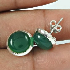 True Love !! 925 Sterling Silver Green Onyx Gemstone Earring Jewellery
