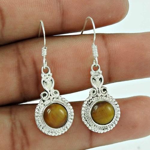 925 Silver Jewelry Ethnic Tiger Eye Gemstone Earrings