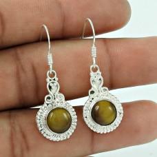 925 Silver Jewelry Beautiful Tiger Eye Gemstone Earrings