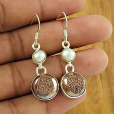 Graceful 925 Sterling Silver Pearl Druzy Gemstone Earring Jewellery