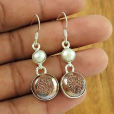 Graceful 925 Sterling Silver Pearl Druzy Gemstone Earring Jewellery