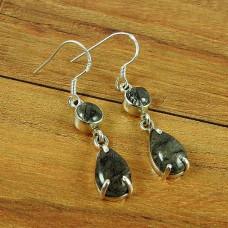 925 Silver Jewelry Beautiful Black Rutile Gemstone Earrings
