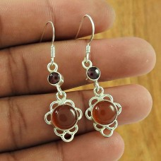 Possessing Good Fortune 925 Sterling Silver Carnelian Garnet Gemstone Earring Traditional Jewellery