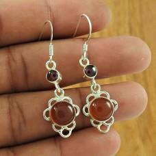 Possessing Good Fortune 925 Sterling Silver Carnelian Garnet Gemstone Earring Traditional Jewellery