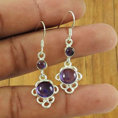 925 Sterling Silver Jewelry Rare Amethyst Gemstone Earrings