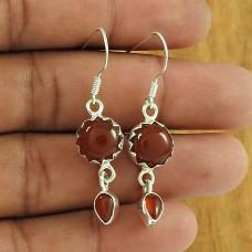 Unforgettable !! 925 Sterling Silver Carnelian Gemstone Earring Jewellery