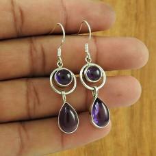 Pleasing 925 Sterling Silver Amethyst Gemstone Earring Jewellery Fabricante