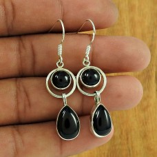 925 Sterling Silver Gemstone Jewelry Charming Black Onyx Gemstone Earrings