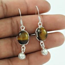 925 Sterling Silver Antique Jewelry Designer Tiger Eye, Pearl Gemstone Earrings