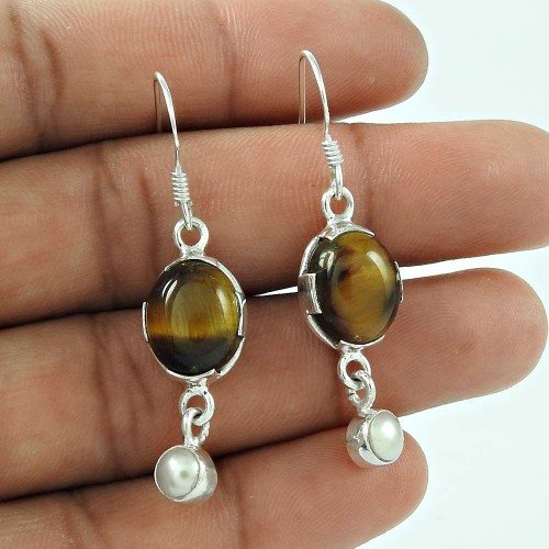 925 Sterling Silver Antique Jewelry Designer Tiger Eye, Pearl Gemstone Earrings