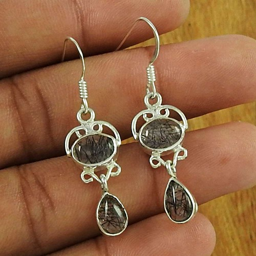 Rare 925 Sterling Silver Black Rutile Gemstone Earring Ethnic Jewellery
