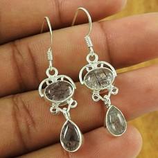 Charming 925 Sterling Silver Black Rutile Gemstone Earring Vintage Jewellery