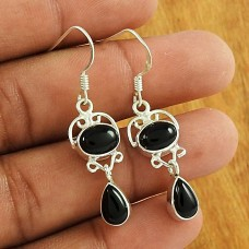 Fashion 925 Sterling Silver Black Onyx Gemstone Earring Antique Jewellery Wholesaler
