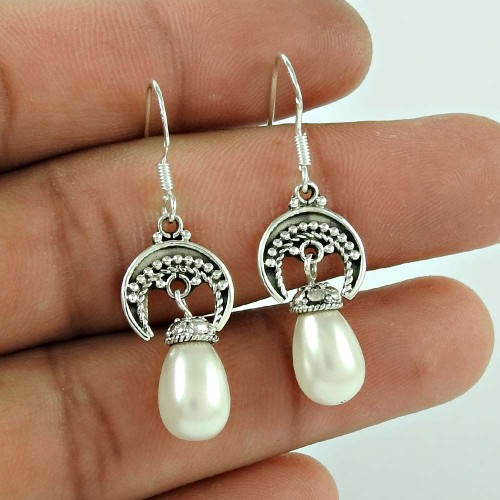 925 Sterling Silver Jewelry Charming Pearl Handmade Earrings
