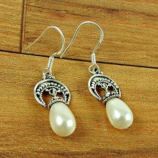 925 Sterling Silver Indian Jewelry Beautiful Pearl Earrings