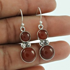 Party Wear 925 Sterling Silver Red Onyx Gemstone Earring Ethnic Jewellery