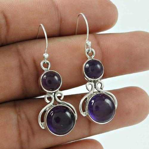 Scenic 925 Sterling Silver Amethyst Gemstone Earring Jewellery Fabricant