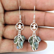 Lovely 925 Sterling Silver Labradorite Earrings De gros