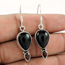 925 Sterling Silver Jewellery Rare Garnet, Black Onyx Gemstone Earrings
