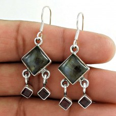 Indian Sterling Silver Jewellery Charming Labradorite, Garnet Gemstone Earrings