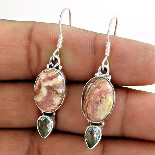 925 Sterling Silver Jewellery High Polish Rhodochrosite, Blue Topaz Gemstone Earrings