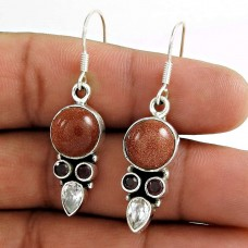 Sterling Silver Fashion Jewellery High Polish CZ, Red Sun Stone, Garnet Gemstone Earrings