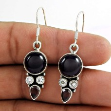 925 Sterling Silver Jewellery Charming CZ, Amethyst, Red Sun Stone Gemstone Earrings