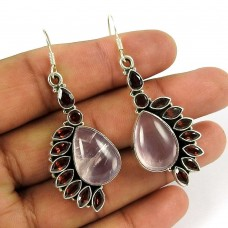 Sightly Rose Quartz, Garnet Gemstone Indian Sterling Silver Earrings Jewellery