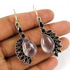Sightly Rose Quartz, Garnet Gemstone Indian Sterling Silver Earrings Jewellery