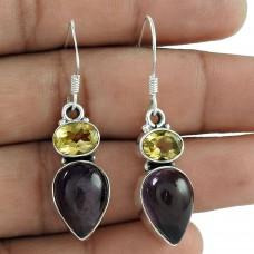 925 Silver Jewellery Beautiful Citrine, Amethyst Gemstone Earrings