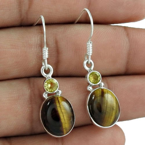 925 Sterling Silver Jewellery Traditional Tiger Eye, Citrine Gemstone Earrings