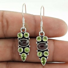 925 Silver Jewellery High Polish Peridot, Garnet Gemstone Earrings