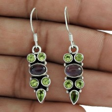 925 Sterling Silver Jewellery Charming Peridot, Garnet Gemstone Earrings