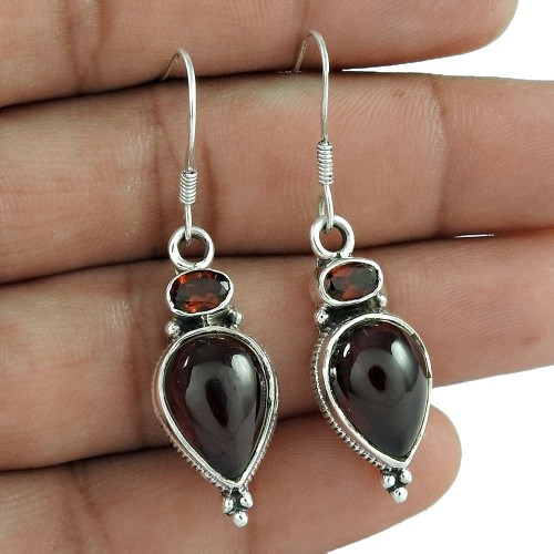 925 Sterling Silver Vintage Jewellery Beautiful Garnet Gemstone Earrings Wholesaler India