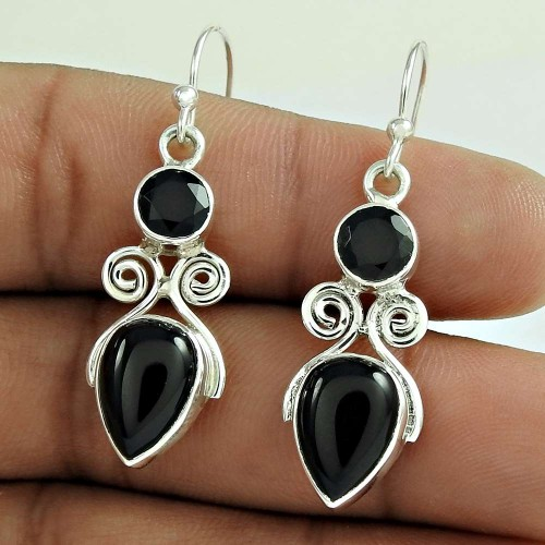 Briliance !! Black Onyx Gemstone Sterling Silver Earrings Jewellery Fournisseur