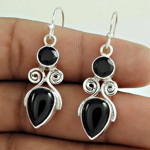 Briliance !! Black Onyx Gemstone Sterling Silver Earrings Jewellery Fournisseur
