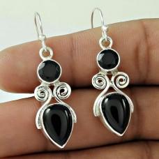 Sterling Silver Indian Jewellery High Polish Black Onyx Gemstone Drop Earrings