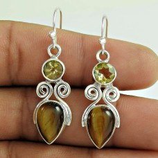 925 Sterling Silver Jewellery Fashion Tiger Eye, Citrine Gemstone Earrings Manufacturer India