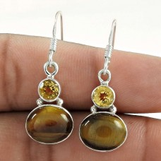 925 Sterling Silver Jewellery Beautiful Tiger Eye, Citrine Gemstone Earrings