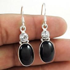 925 Sterling Silver Antique Jewellery High Polish Black Onyx, Crystal Gemstone Earrings
