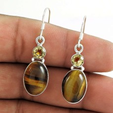 925 Sterling Silver Indian Jewellery Charming Tiger Eye, Citrine Gemstone Earrings