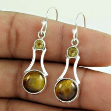 925 Silver Jewellery High Polish Tiger Eye, Citrine Gemstone Earrings