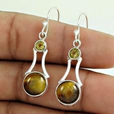 925 Silver Jewellery High Polish Tiger Eye, Citrine Gemstone Earrings
