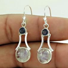 925 Silver Jewellery Fashion Rainbow Moonstone, Iolite Gemstone Earrings