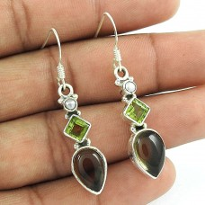 925 Sterling Silver Indian Jewellery Fashion Smoky Quartz, Peridot, Pearl Gemstone Earrings