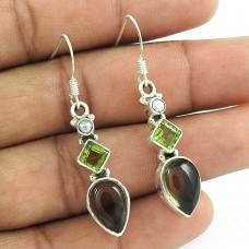 925 Sterling Silver Indian Jewellery Fashion Smoky Quartz, Peridot, Pearl Gemstone Earrings