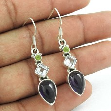 Sterling Silver Fashion Jewellery Ethnic Amethyst, Blue Topaz, Peridot Gemstone Earrings